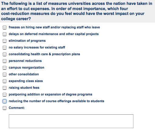 Survey Question on Cuts