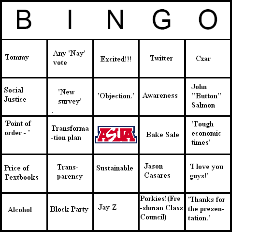 ASUA Bingo