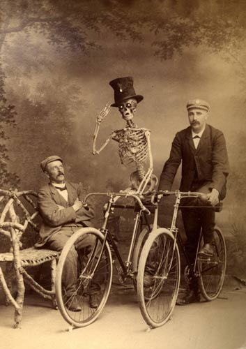 Skeleton on a bike