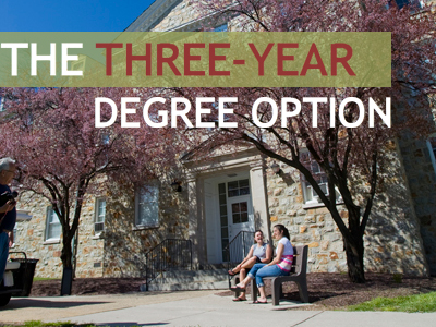 An example of how to advertise three-year programs (via Mount St. Mary's University, in Maryland)